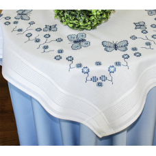 Cross Stitch: Tablecloth - Cornflowers