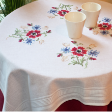 Stamped Tablecloth Kits - Meadow Posy