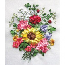 A Bouquet With A Sunflower - Ribbon Embroidery
