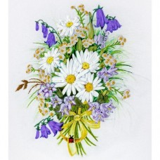 Chamomiles And Bluebells - Ribbon Embroidery