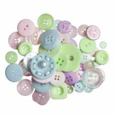 Bag of Craft Buttons: Assorted Pastels: 50g