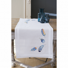 Embroidery Kit: Table Runner: Blue Feathers