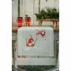 Embroidery Kit: Table Runner: Christmas Gnomes Skiing
