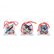 Pot-Pourri Bag: Long-Tailed Tits & Red Berries: Set of 3