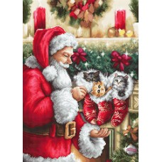 Santa Claus and Kittens Petit Point