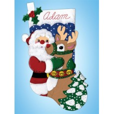 Santa and Deer Stocking Christmas Felt Kit