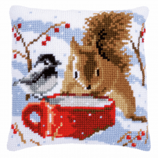 Cushion: Squirrel and Tit