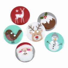 Christmas Buttons: Assorted Designs: 23mm: Pack of 6