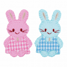 Motif Pink & Blue Checked Bunnies