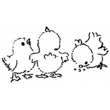 Chicks Wood Mounted Stamp