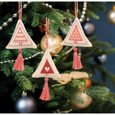 Counted Cross Stitch Kits: Christmas Decorations: Trees:  Rose Gold