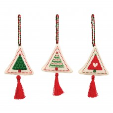 Counted Cross Stitch Kits: Christmas Decorations: Trees Green/Red