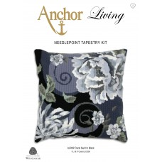 Tapestry Kit: Cushion: Living: Floral Swirl in Black