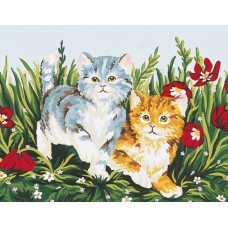 Printed Tapestry Canvas: Playful Kittens