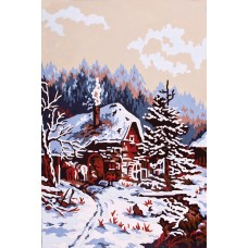 Printed Tapestry Canvas: Snow Scene