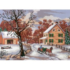 Printed Tapestry Canvas: Winter Scene