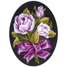 Printed Tapestry Canvas: Roses Posy: Oval