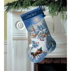 Gold: Counted Cross Stitch: Stocking: Dusk Sleigh Ride