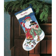 Counted Cross Stitch: Stocking: Santa and Snowman