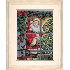 Gold: Counted Cross Stitch: Candy Cane Santa