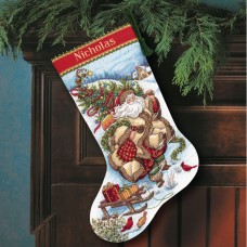 Gold: Counted Cross Stitch: Stocking: Santa's Journey