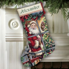 Gold: Counted Cross Stitch: Stocking: Candy Cane Santa