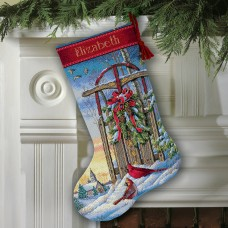 Gold: Counted Cross Stitch: Christmas Sled