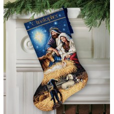 Gold: Counted Cross Stitch: Stocking: Holy Night