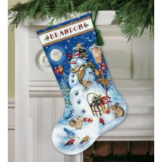 Gold: Counted Cross Stitch: Stocking: Snowman & Friends