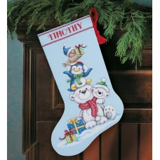 Counted Cross Stitch: Stocking: Stack of Critters