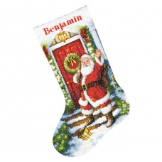 Gold: Counted Cross Stitch: Stocking: Welcome Santa