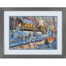 Counted Cross Stitch Kit: Gold: Winter Cabin
