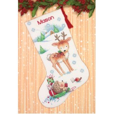 Counted Cross Stitch Kit: Reindeer and Hedgehog Stocking