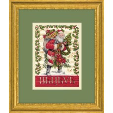 Counted Cross Stitch Kit: Gold: Believe in Santa