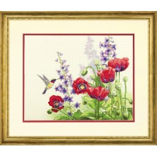 Counted Cross Stitch: Hummingbird and Poppies