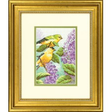 Mini Counted Cross Stitch: Goldfinch and Lilacs