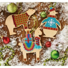 Counted Cross Stitch Kit: Wooden Animal Ornaments: Set of 3
