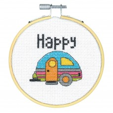 Counted Cross Stitch Kit with Hoop: Happy Camper