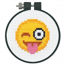 Counted Cross Stitch Kit with Hoop: Tongue Out Emoji