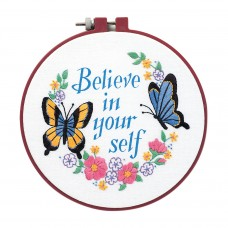 Embroidery Kit with Hoop: Crewel: Learn-a-Craft: Believe in Yourself