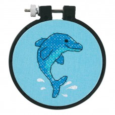 Learn-a-Craft: Stamped Cross Stitch Kit with Hoop: Dolphin Delight
