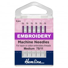 Sewing Machine Needles: Embroidery: Fine 75/11: 6 Pieces