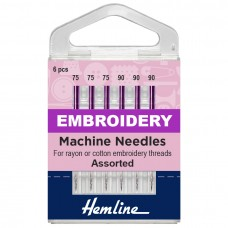 Sewing Machine Needles: Embroidery: Mixed: 6 Pieces