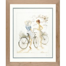 Counted Cross Stitch Kit: Girls on Bicycle (Linen)