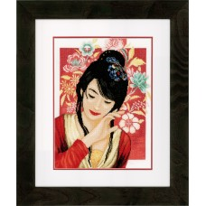Counted Cross Stitch Kit: Asian Flower Girl (Evenweave)