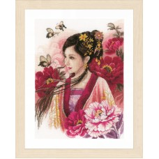 Counted Cross Stitch Kit: Asian Lady in Pink (Evenweave)