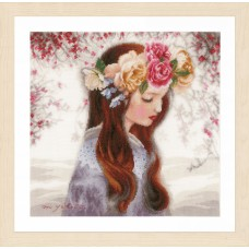 Counted Cross Stitch Kit: 'The Day When Flowers' (Linen)