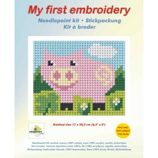 Needlepoint Kit: My First Embroidery: Pig