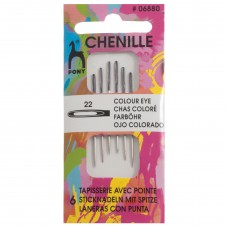 Hand Sewing Needles: Chenille: Colour-Coded Eye: Size 22