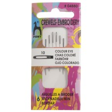 Hand Sewing Needles: Crewels: Colour-Coded Eye: Size 10
